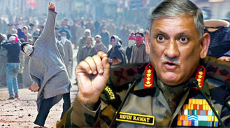 Army chief General Bipin Rawat strong message to Stone pelters of Kashmir