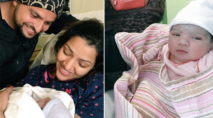 Daddy Suresh Raina shares first pics of daughter 'Gracia'.